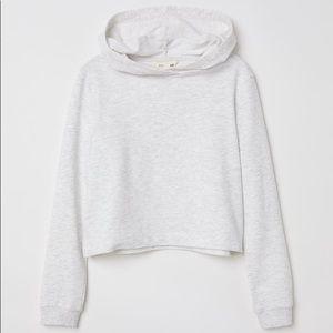 💕H&M White Grey Marled Short Hoodie Girls 10-12💕